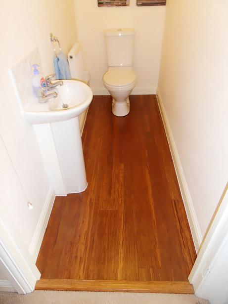 Fitting bamboo floor in toilet